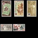 Timbre de collection de Monaco N° 822/26 neuf sans charnière