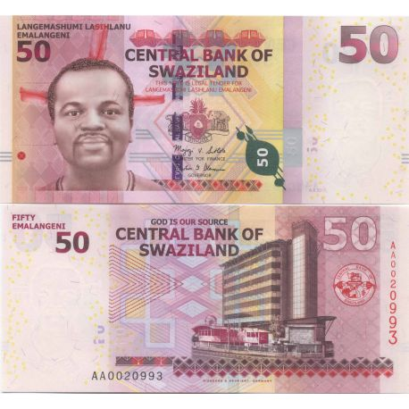 Billets de collection Billets collection Swaziland Pk N° 38 - 50 Lilangeni Billets du Swaziland 22,00 €