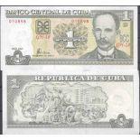 Precioso de billetes Cuba Pick número 128 - 1 Peso