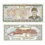 Precioso de billetes Bhután Pick número 23 - 20 Ngultrum 2000