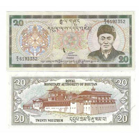 Billets de banque Bhoutan Pk N° 23 - 20 Ngultrums