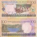 Precioso de billetes Ruanda Pick número 29 - 100 FRANC