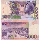 Beautiful banknote Saint Thomas & Prince Pick number 65 - 5000 Dobras