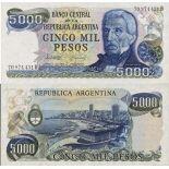 Banknoten Sammlung Argentinien Pick Nummer 305 - 5000 Peso 1977