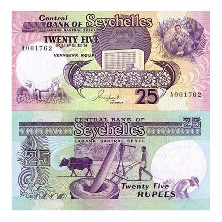 Seychelles - Pk No. 33 - 25 ticket Ruppes