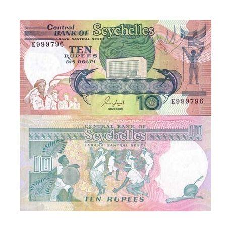 Billets de banque Seychelles Pk N° 32 - 10 Ruppes