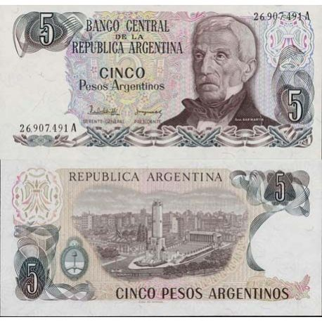 Billets de collection Billets collection Argentine Pk N° 312 - 5 Pesos Billets d'Argentine 1,50 €