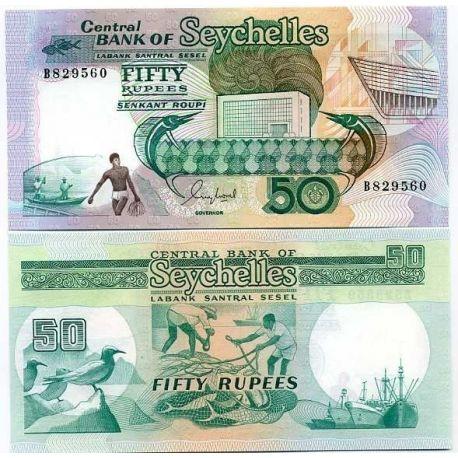 Billets banque Seychelles Pk N° 34 - 50 Ruppes