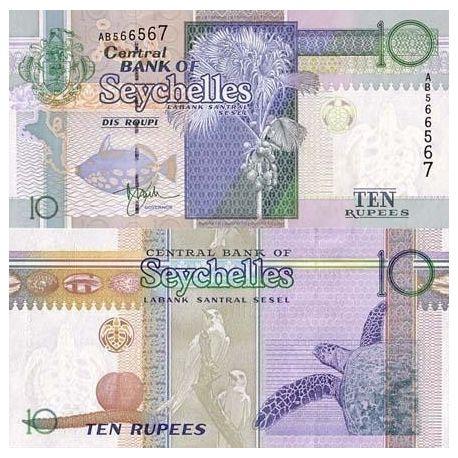 Seychelles - Pk No. 36 - 10 ticket Ruppes