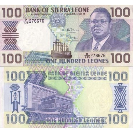 Billets de collection Billet de banque Sierra Leone Pk N° 18 - 100 Leones Billets de Sierra Leone 5,00 €