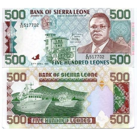 Billets de collection Billet de collection Sierra Leone Pk N° 19 - 500 Leones Billets de Sierra Leone 6,00 €