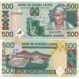 Sammlung von Banknoten Sierra Leone Pick Nummer 23 - 500 Leone