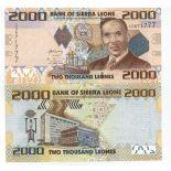 Sammlung von Banknoten Sierra Leone Pick Nummer 31 - 2000 Leone