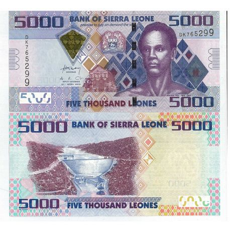 Billets de collection Billets banque Sierra Leone Pk N° 32 - 5000 Leones Billets de Sierra Leone 10,00 €