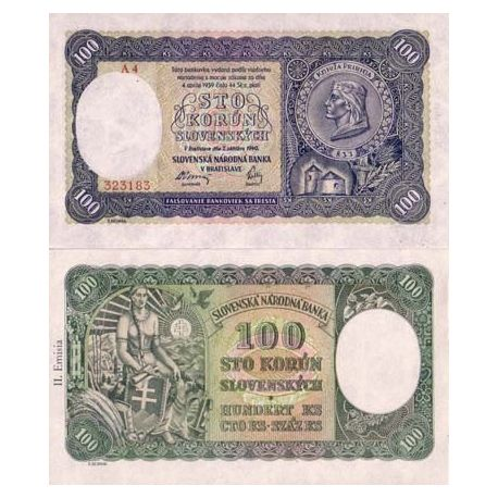 Billets de banque Slovaquie Pk N° 10 - 100 Korun