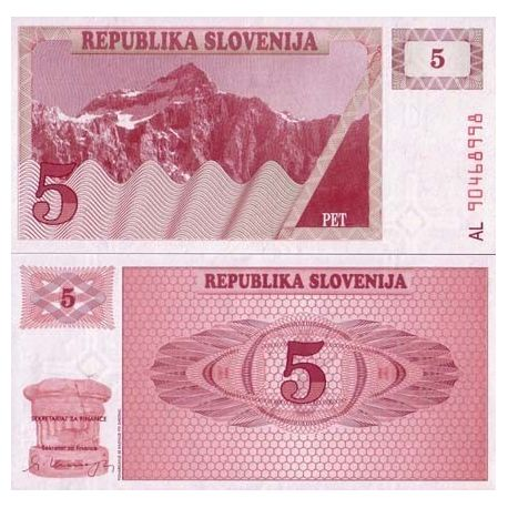 Billet de collection Slovenie Pk N° 3 - 5 Tollarjev