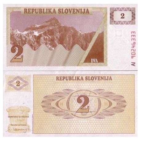 Billet de collection Slovenie Pk N° 2 - 2 Tollarjev