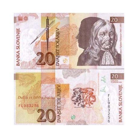 Slovenie - Pk N° 12 - Billet de 20 Tollarjev
