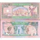 Precioso de billetes Somalilandia Pick número 1 - 5 Shilling