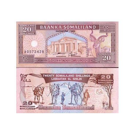 Billets de banque Somaliland Pk N° 3 - 20 Shillings
