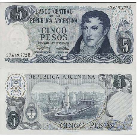 Billets de collection Billet de banque Argentine Pk N° 294 - 5 Pesos Billets d'Argentine 3,00 €