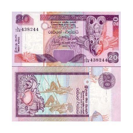 Billets de collection Billets banque Sri Lanka Pk N° 109 - 20 Rupees Billets du Sri Lanka 2,50 €