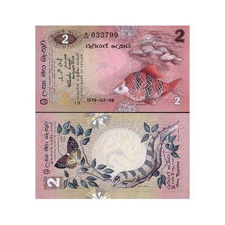 Billets de collection Billets collection Sri Lanka Pk N° 83 - 2 Rupees Billets du Sri Lanka 10,00 €