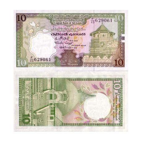 Billets de collection Billet de banque Sri Lanka Pk N° 96 - 10 Rupees Billets du Sri Lanka 5,00 €