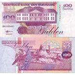 Los billetes de banco Suriname Pick número 139 - 100 Gulden
