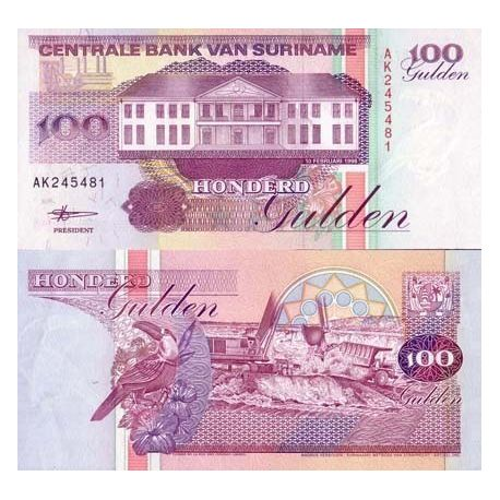 SURINAME - Pk No. 139 - 100 note Gulden