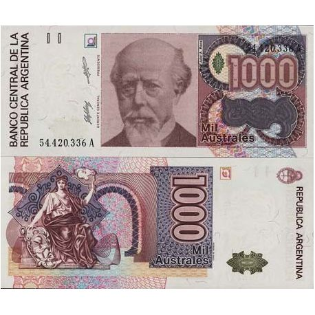 Billets de collection Billet de collection Argentine Pk N° 329 - 1000 Australes Billets d'Argentine 2,50 €