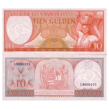 SURINAME - Pk # 121 - Ticket 10 Gulden