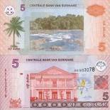 Collection of Banknote Suriname Pick number 157 - 5 Dollar