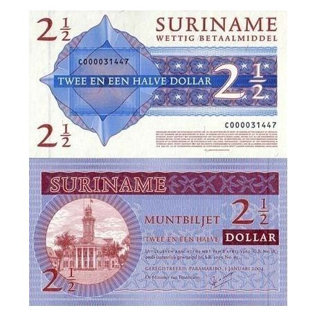 Billets de collection Billets banque Surinam Pk N° 156 - 2,5 Dollar Billets du Surinam 9,00 €