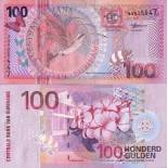 Precioso de billetes Suriname Pick número 149 - 100 Gulden