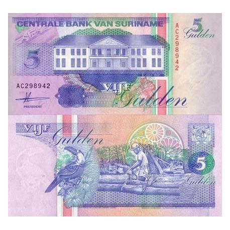 Billets de banque SURINAM Pk N° 136 - 5 Gulden