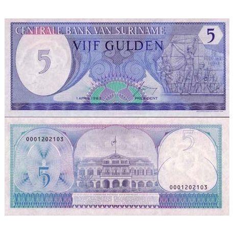 SURINAME - Pk # 125 - Ticket 5 Gulden