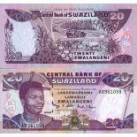 Beautiful banknote Swaziland Pick number 30 - 20 Lilangeni