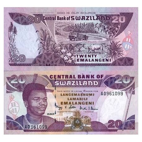 Billets de collection Billet de collection Swaziland Pk N° 30 - 20 Lilangeni Billets du Swaziland 8,00 €