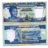Sammlung von Banknoten Swaziland Pick Nummer 29 - 10 Lilangeni