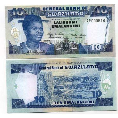 Billets de banque Swaziland Pk N° 29 - 10 Lilangeni