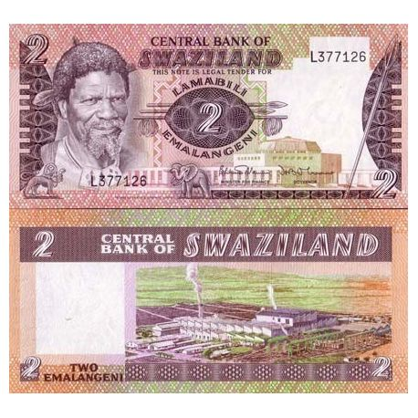 Billets de collection Billets banque Swaziland Pk N° 8 - 2 Lilangeni Billets du Swaziland 5,50 €