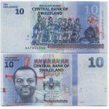 Precioso de billetes Swazilandia Pick número 36 - 10 Lilangeni
