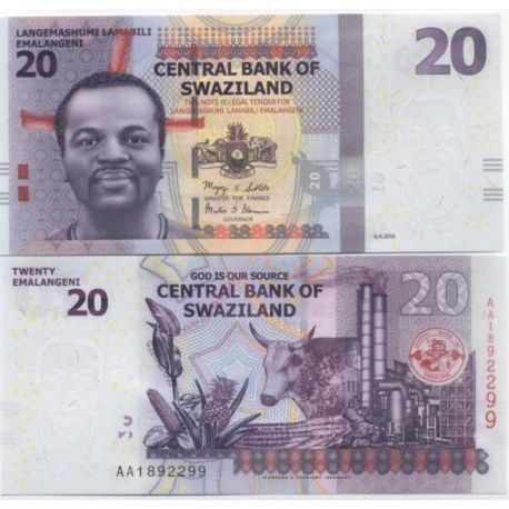 Billets de collection Billets de banque Swaziland Pk N° 37 - 20 Lilangeni Billets du Swaziland 10,00 €