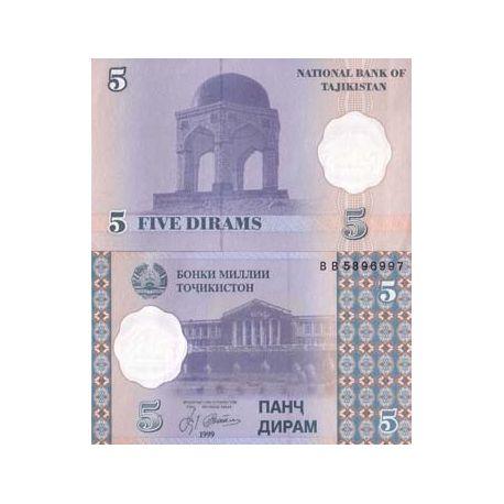 Billets de collection Billet de banque Tadjikistan Pk N° 11 - 5 Dirams Billets du Tadjikistan 1,00 €
