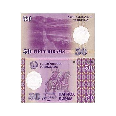 Billets de collection Billet de banque Tadjikistan Pk N° 13 - 50 Dirams Billets du Tadjikistan 2,00 €
