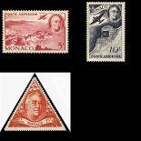 Francobollo di Monaco posta aerea N° 19/21 nove senza cerniera