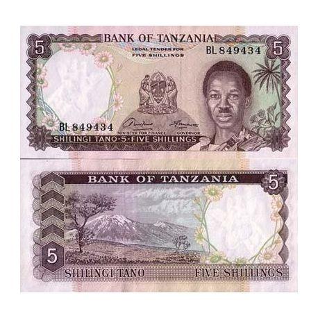 Tanzanie - Pk N° 1 - Billet de 5 Shilings