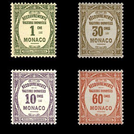 Timbre Monaco Taxe N° 13/16 neuf sans charnière