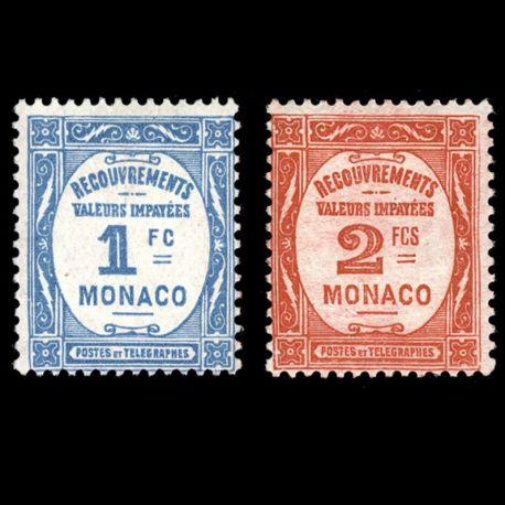 Timbre Monaco Taxe N° 27/28 neuf sans charnière